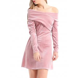 Off The Shoulder Velvet Long Sleeve Dress - PINK S