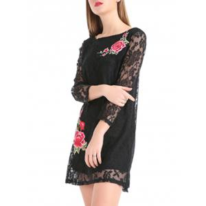 Flower Embroidery Lace Sheer Sleeve Mini Dress -