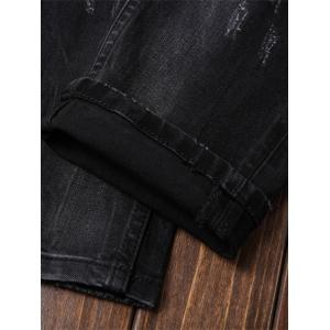 Straight Leg Paint Ripped Jeans - DEEP GRAY 32