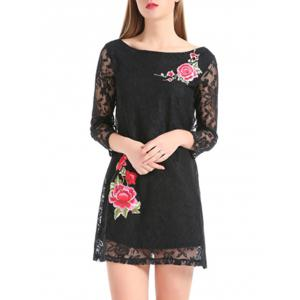 Flower Embroidery Lace Sheer Sleeve Mini Dress - BLACK L