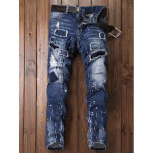 Paint Print Patch Design Ripped Jeans - BLUE 32