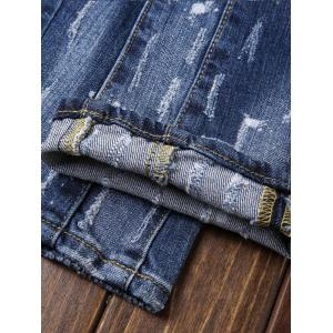 Paint Print Patch Design Ripped Jeans - BLUE 33