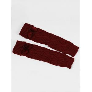 Fuzzy Ball Decorated Hollow Out Knitted Leg Warmers - WINE RED