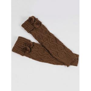 Fuzzy Ball Decorated Hollow Out Knitted Leg Warmers - KHAKI