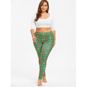 Plus Size Christmas Printed Elastic Waist Pants - GREEN 2XL