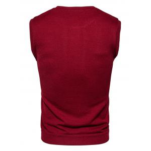 Buttons Design Crew Neck Vest - WINE RED L