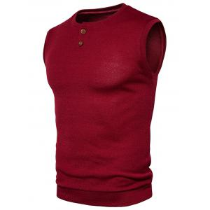 Buttons Design Crew Neck Vest -