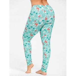 Plus Size Deer Pattern Christmas Pants - CLOUDY 5XL