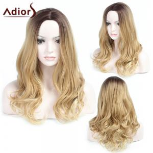 Adiors Long Center Parting Wavy Ombre Synthetic Wig - COLORMIX