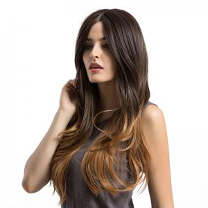 Long Center Parting Layered Slightly Curly Ombre Synthetic Wig -