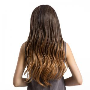 Long Center Parting Layered Slightly Curly Ombre Synthetic Wig - GRADUAL BROWN