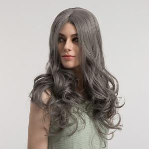 Center Parting Fluffy Long Curly Synthetic Wig -