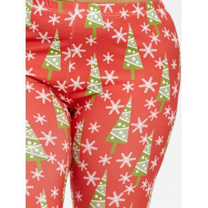 Plus Size Slim Christmas Tree Snowflake Printed Pants - RED 4XL
