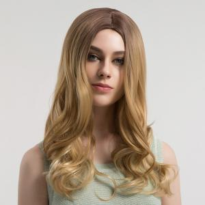 Center Parting Long Curly Ombre Synthetic Wig - BROWN AND GOLDEN