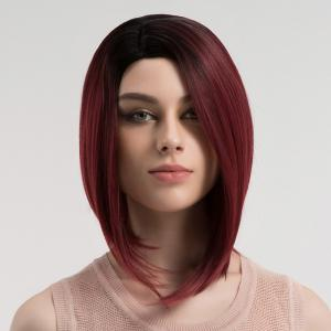 Side Parting Straight Short Bob Ombre Synthetic Wig - DRAK WINE RED OMBRE