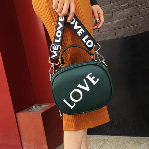 Print Letter Faux Leather Crossbody Bag - GREEN