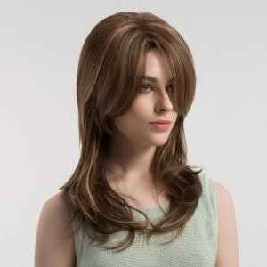 Inclined Bang Long Straight Colormix Synthetic Wig -
