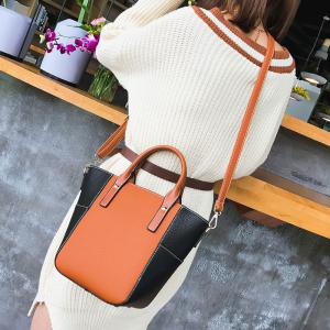 Stitching Color Blocking Rivets Crossbody Bag -