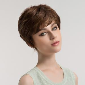 Side Bang Short Layered Slightly Curly Synthetic Wig -