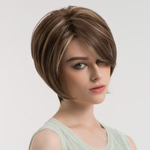 Side Bang Colormix Fluffy Short Straight Synthetic Wig - BROWN + GOLDEN