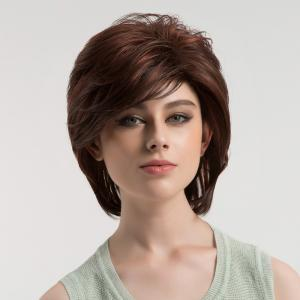 Short Side Bang Colormix Shaggy Straight Bob Synthetic Wig - COLORMIX