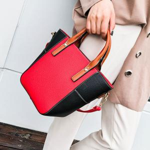 Stitching Color Blocking Rivets Crossbody Bag - RED