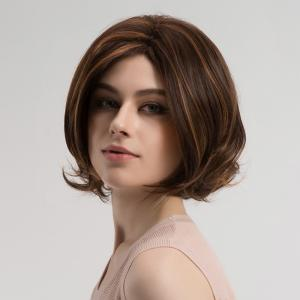 Center Parting Highlighted Slightly Curled Short Bob Synthetic Wig -