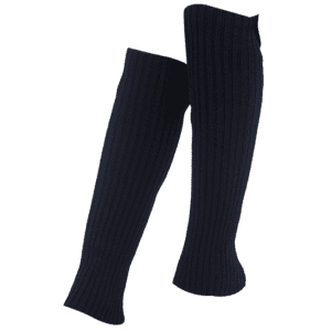 Vertical Striped Pattern Knitted Leg Warmers - BLACK