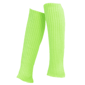 Vertical Striped Pattern Knitted Leg Warmers - FLUORESCENT YELLOW