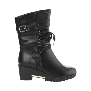 Buckle Strap Mid Calf Boots -