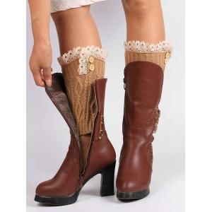 Lace Edge and Button Embellished Leg Warmers - CAMEL