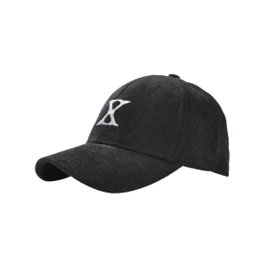 Outdoor Letter Embroidery Corduroy Baseball Cap - BLACK