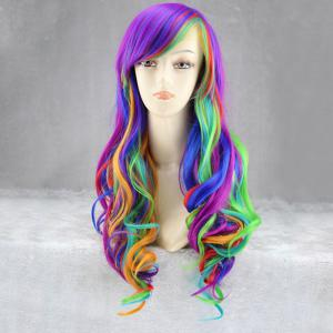Long Side Bang Fluffy Wavy Rainbow Synthetic Cosplay Anime Wig - COLORFUL