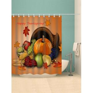 Thanksgiving Rich Food Printed Waterproof Bath Curtain - ORANGE W59 INCH * L71 INCH