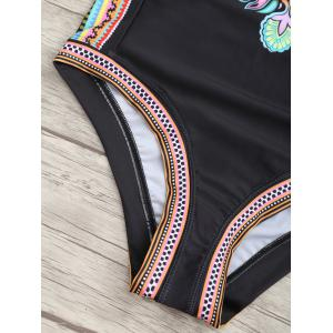 Printed Low Back Halter Swimsuit - BLACK S
