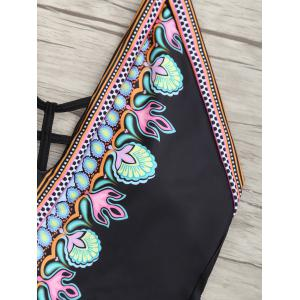 Printed Low Back Halter Swimsuit - BLACK XL