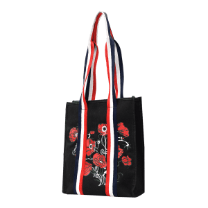 Color Block Striped Embroidery Flower Handbag -