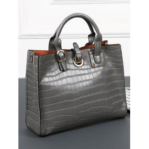 2 Pieces PU Leather Embossing Handbag Set -