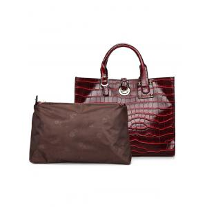 2 Pieces PU Leather Embossing Handbag Set - WINE RED