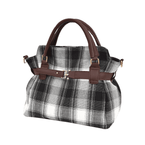 Buckle Strap Checker Tote Bag -