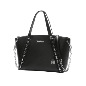 Faux Leather Letter Embellished Chain Shoulder Bag - BLACK