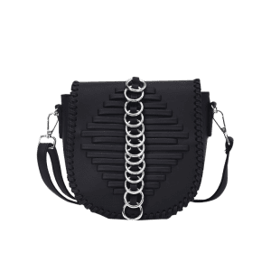 Faux Leather Whipstich Crossbody Bag - BLACK