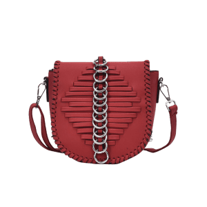 Faux Leather Whipstich Crossbody Bag - WINE RED