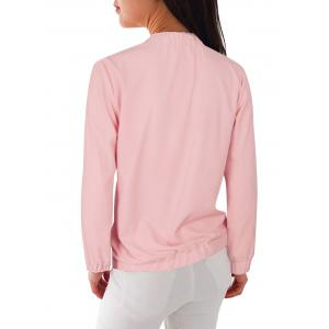 Floral Embroidered Zipper Jacket - PINK S