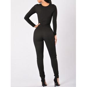 Plunge Lace-up Bodycon Jumpsuit - BLACK XL