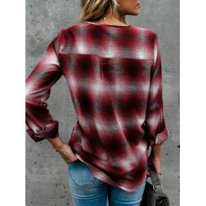Criss Cross Plaid Pocket Blouse - RED S