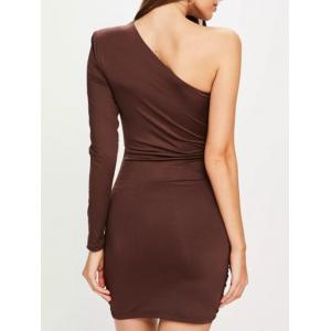 One Shoulder Ruched Bodycon Dress - COFFEE S
