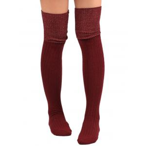 Ribbed Knitted Plain Stockings - WINE RED