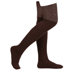 Ribbed Knitted Plain Stockings - COFFEE
