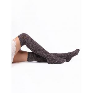 Button Knitted Stockings - PURPLE